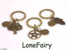 Vintage Bronze Personalised Initial Letter Charm Keyring *Buy 2 get 1 free* Tree