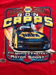 """NHRA DRAG RACING """"NAPA KNOW HOW"""" RON CAPPS T- SHIRT  SIZE LARGE"""
