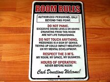 Room Rules Embossed Metal Tin sign - Made in USA Bar Shop Garage Man Cave