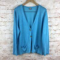 J. Jill Blue Linen Button Down Cardigan Sweater w/ Pockets Size XL