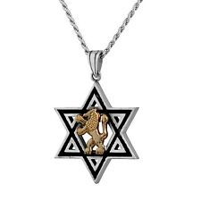 Mens Jewelry Sterling Silver Gold Lion Of Judah Star Of David Judaica Necklace