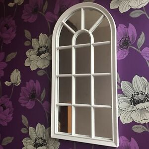 WHITE ENCHANTED WINDOW STYLE WALL MIRROR GIRLS ROOM HALLWAY ARCH WINDOW MIRROR