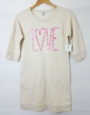 "Old Navy Sweater Dress Size XL 14 Girls Beige Pink ""Love"" New"