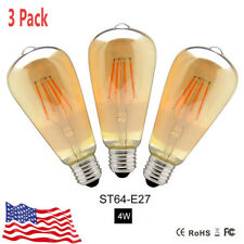 3PCS E27 COB LED Dimmable ST64 Vintage Retro Filament Edison Light Bulb Lamp 4W