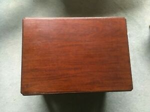 Small Dark Wood Side Table Approx 46cm*33cm on Castors with Lower Tier