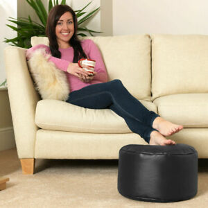 Faux Leather Bean Bag Round Footstool, Beanbag Pouffe Seat Foot Stool