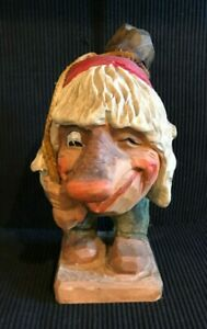 """VINTAGE 8"""" MID CENTURY HENNING NORWAY HAND CARVED SIGNED TROLL MAN"""