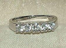 1969 Silvertone Wedding Band 5 Faux Diamond Prong Set Rhinestones Sparkley