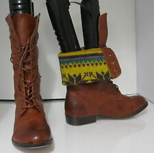 NEW Tan LACE  Rugged Military Combat  Riding Winter sexy ankle  boot size  7