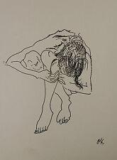 Oskar Kokoschka signed INK study on heavy paper 'Kauernder Mädchenakt' 1908 COA