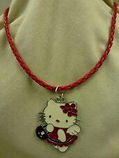 Damen Mädchen SET großer Hello Kitty Katze Anhänger rot weiß inkl. Kette -  NEU