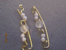 1 Pair All White-- Gold Tarnish Resistant Ear Vines, Sweeps, Pins Earrings
