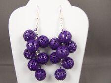 "Purple dangle cutout hollow bead silver tone chain 3.25"" long earrings"