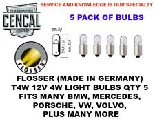 FLOSSER (MADE IN GERMANY) T4W 12V 4W LIGHT BULBS QTY 5 3893 17131  4088