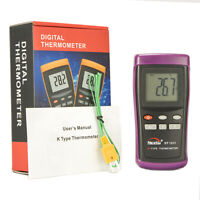 Digital K-type Thermometer w 1 Sensor Wire Probe for HVAC Industrial Use DT1311