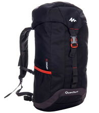 Quechua 30L Trekking Hiking Backpack Padded Back Straps Bag Black Outdoor Sports