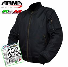 ARMR MOTO ARAMID MOTORCYCLE BOMBER JACKET WATERPROOF CRUISER (NEW 2017) BLACK L