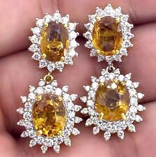 DANGLING 11.40CT NATURAL YELLOW SAPPHIRE & REAL DIAMOND 18K SOLID GOLD EARRINGS