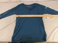 NWT Adult Women's Fox Motocross Blue Long Sleeve Foraging Henley Shirt 31867