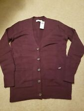NWT Hollister Button Front Cardigan Sweater Burgundy Medium