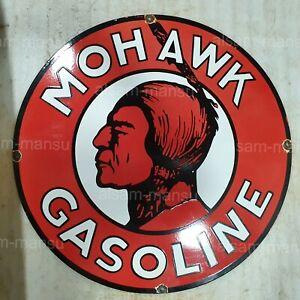 MOHAWK GASOLINE 30 INCHES ROUND VINTAGE ENAMEL SIGN