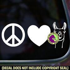 PEACE LOVE LLAMAS Llama Love Car Window Trailer Sign Vinyl Decal Sticker