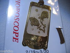 Horoscope Pisces Fish Zodiac 24K Gold plated metal Bookmark book mark Made JAPAN