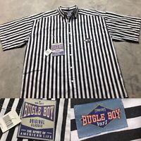 90s VTG NWT BUGLE BOY STRIPED Black & White VAPORWAVE L Shirt Bold Wide Boxy