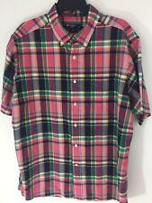 DANIEL CREMIEUX Mens XL Plaid Madras Short Sleeve Shirt Pink Fuschia Green EUC