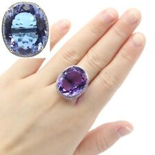 25x21mm 2020 New Designed Color Changing Alexandrite & Topaz CZ Silver Ring 6.0