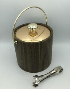 Vintage Kraftware Ice Bucket / 1970s, N.Y.C. / Faux Wood W/ Gold Brass Tone Lid