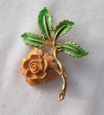Flower brooch rose apricot colour green and gold