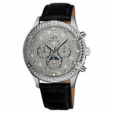 Men's Joshua & Sons JS-41-SS Crystal Pave Dial Moon Phase Automatic Strap Watch