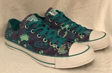 Converse All Star Low Tops Purple Teal Feathers Skulls Women's Size 8 MINT