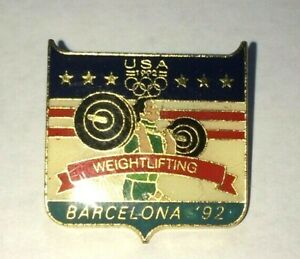 1992 Barcelona USA Olympic Weightlifting Team NOC Sports Pin