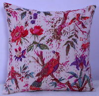 "16"" Floral Bird Kantha Embroidered Cushion Boho Decorative Indian Pillow Cover"