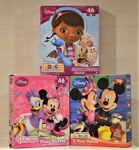 DISNEY DOC McSTUFFIN MINNIE Or MICKEY MOUSE 46 PIECE 3' FLOOR PUZZLE JIGSAW TOY