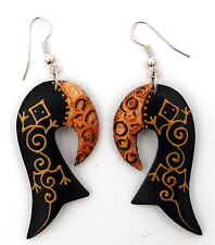 Boucles d'oreilles gecko en bois peinture or bijou tendance artisanat Bali