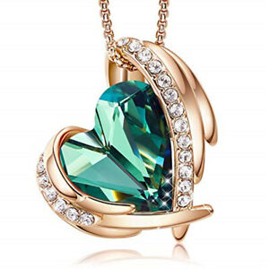 Elegant And Unique Rose Gold Wing Heart-Shaped Green Zircon Pendant Necklace