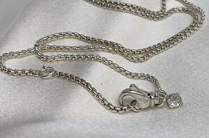 David Yurman Silver 925 Box Chain 1.7mm Wide 17in Adjustable Necklace
