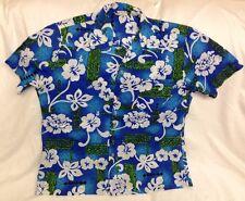Vtg ROYAL Hawaiian Polyester Shirt sz XL Loop Collar Pocket Flower Tiki Print