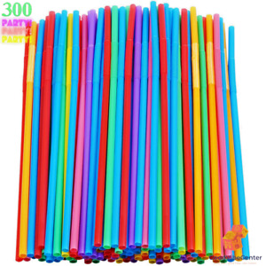 300PACK Colorful Extra Long Flexible Drinking Straws Bendy Disposable Plastic US