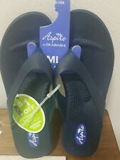 🇺🇸 Aspire by Okabashi NAVY Wedge Heel Thong Sandals Shoe-Women's Size ML (8-9)