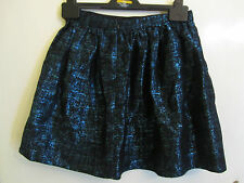 Black & Blue Shiny Metallic Mini Skirt in Size 6