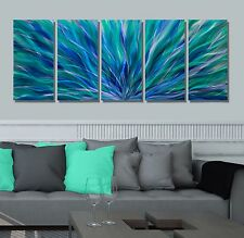 Modern Abstract Original Painting Metal Wall Art Blue Aurora Sculpture Jon Allen
