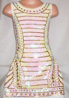 GIRLS 60s PEARL WHITE SPARKLY SEQUIN GOLD TRIBAL PATTERN DISCO DANCE PARTY DRESS