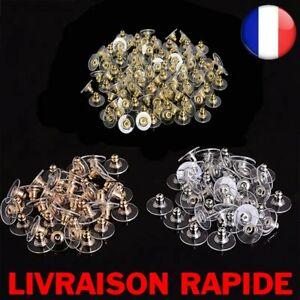 100 pcs Boucle D'oreille Dos Bouchons Accessoire Bijoux Stud Arrière Argent Or