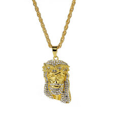 1PC Hip Hop Necklace Men's Gold Tone Rhinestone Jesus Face Pendant Necklace Gift