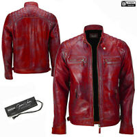 Mens Leather Jacket Red Cafe Racer Vintage Style Motorcycle Biker Real Leather