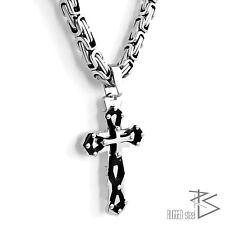 Men's Stainless Steel XXL cross Pendant King's Chain 55 cm 8 mm Silver Black